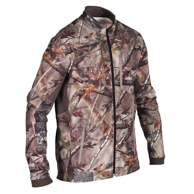 Veste chasse 500 Silencieuse respirante CAMOUFLAGE FORET