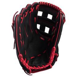 Guante de béisbol A360 mano derecha 12 pulgadas negro rojo