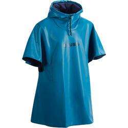 Winddichte fleece poncho voor diepzeeduiken SCD blauw
