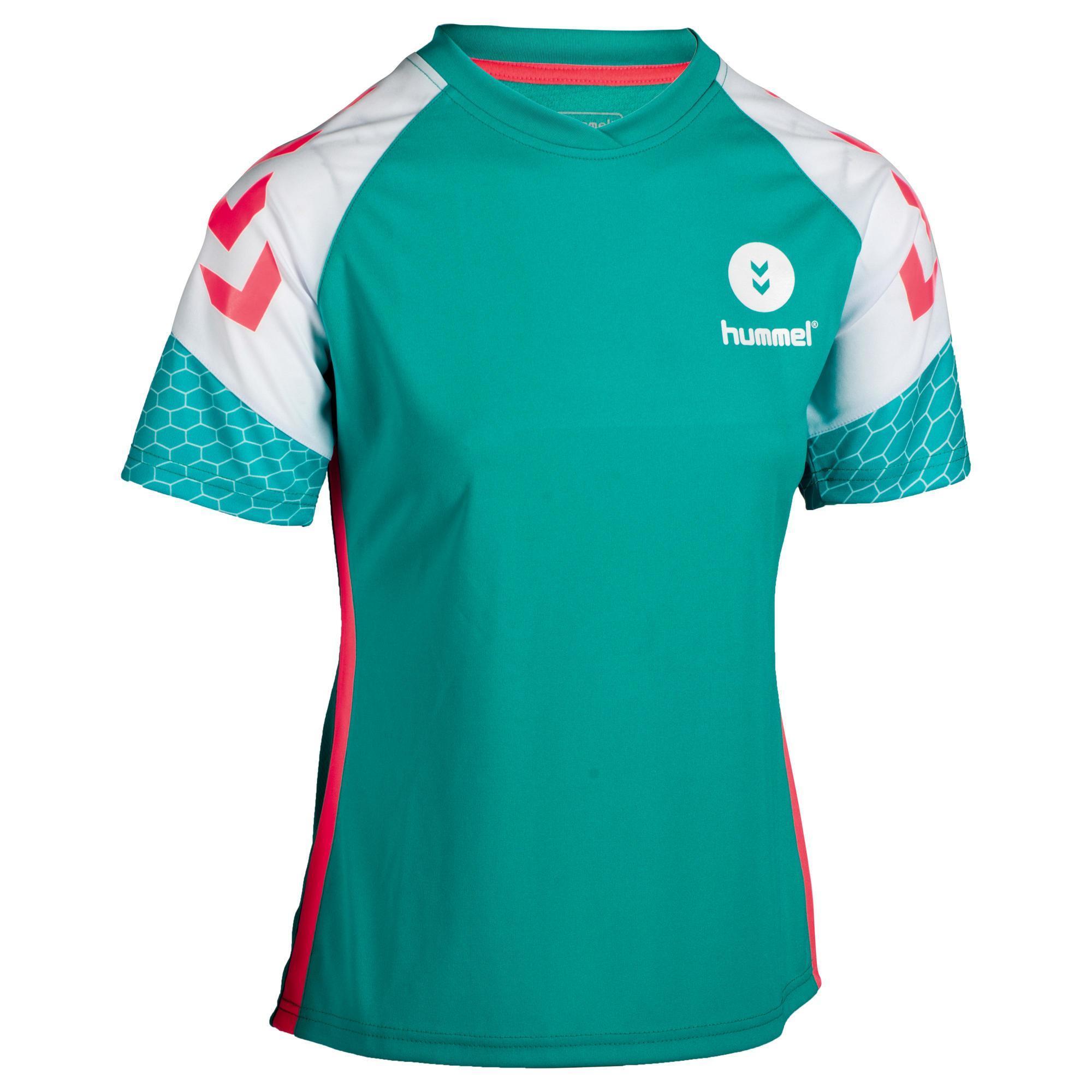 Hummel Handbalshirt voor dames turquoise / wit / roze