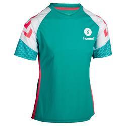 Handbalshirt voor dames turquoise / wit / roze