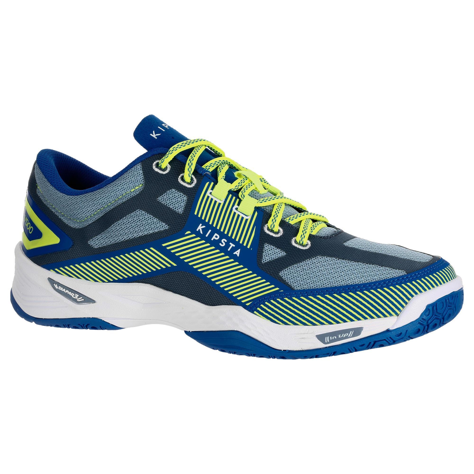 2413646 Kipsta Volleybalschoenen heren V500 blauw/geel