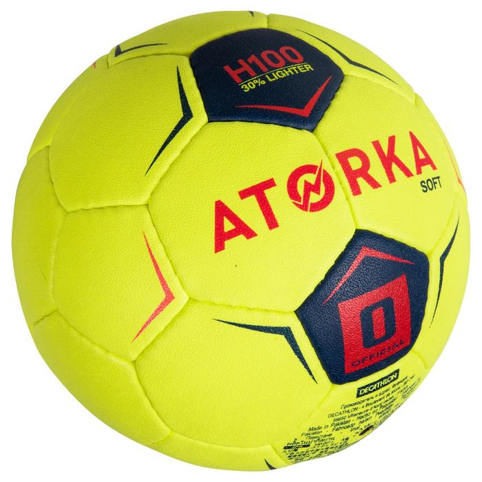 Ballon de handball enfant H100 soft T0 jaune / rose