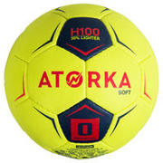 Balón de balonmano H100 soft T0 Amarillo y rosa