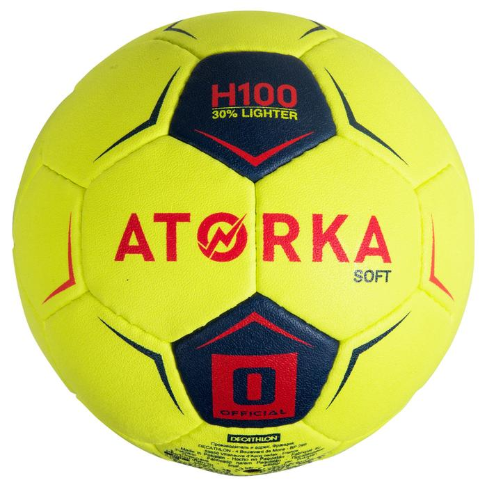 Ballon de handball enfant H100 soft T0 jaune/rose