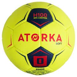 Handball H100 Soft Größe 0 Kinder gelb/pink