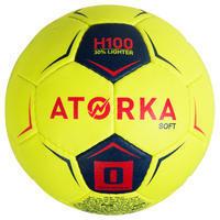 H100 Soft S0 Kids' Handball - Yellow/Pink
