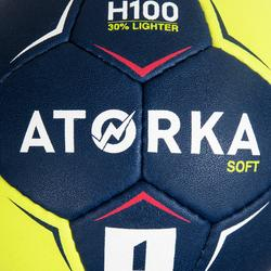 Balón de Balonmano Atorka H100 Soft Talla 1 Azul Amarillo