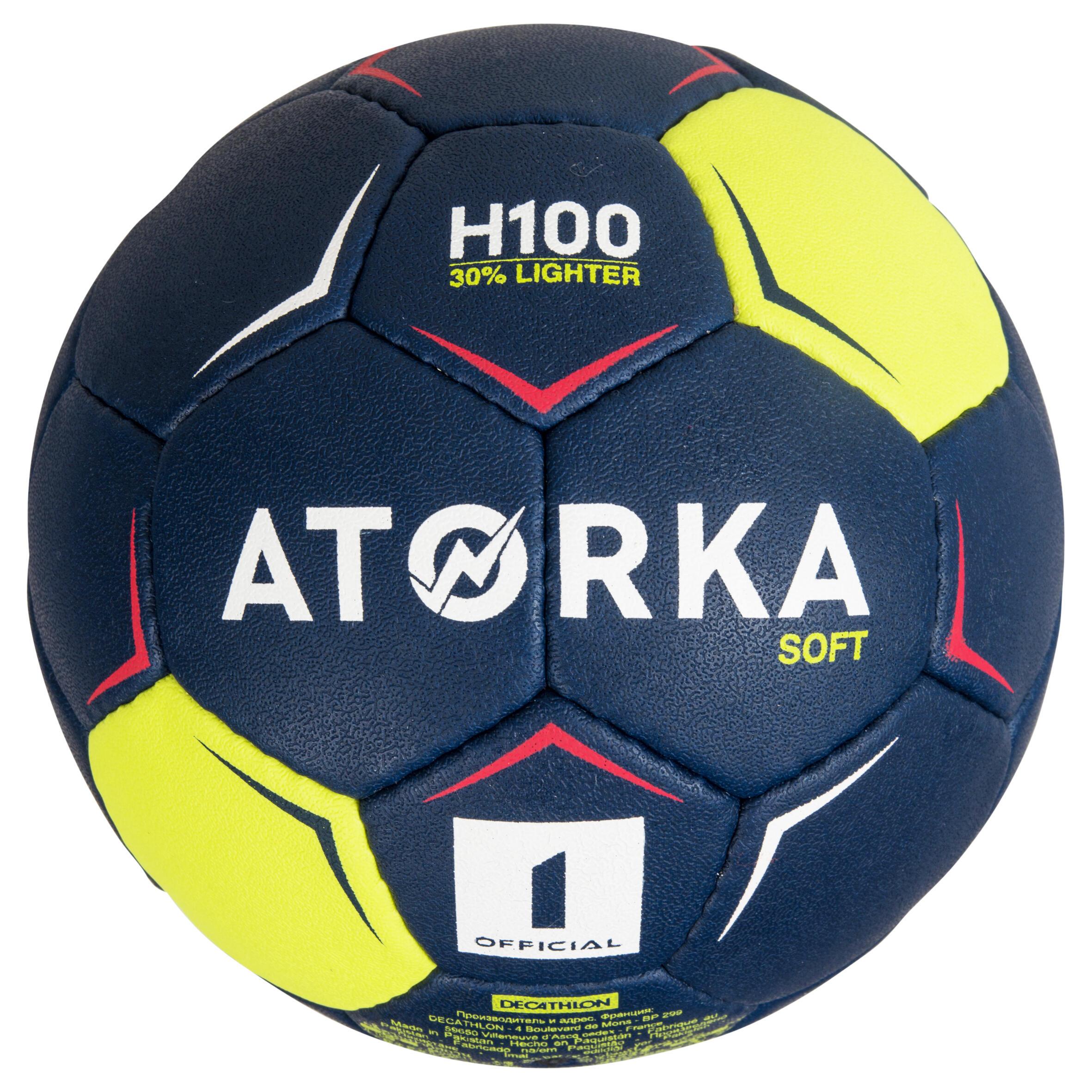 Ballon de handball H100 doux T1 bleu et jaune
