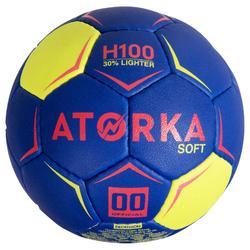Handbal H100 Soft maat 00 blauw/roze