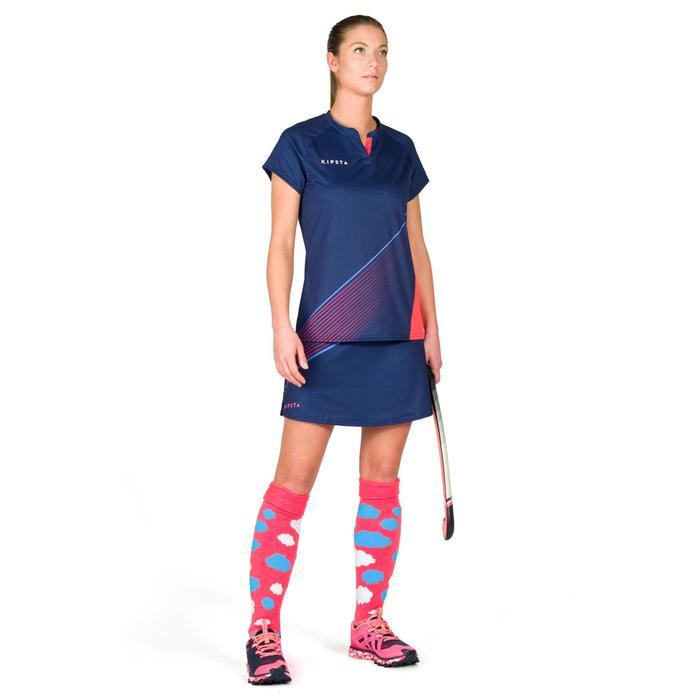Damesshirt voor veldhockey FH500 blauw/roze