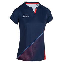 Camiseta de hockey sobre hierba mujer FH500 azul y rosa