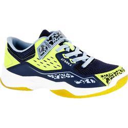 Zapatillas de balonmano H100 niño con tira auto adherente Azul y Amarillo