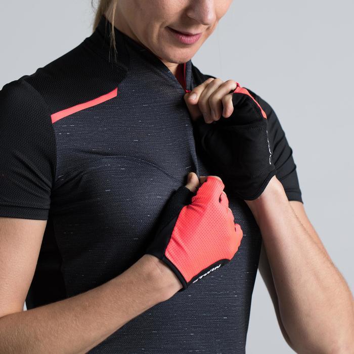 Fietsshirt 500 met korte mouwen voor dames zwart roze