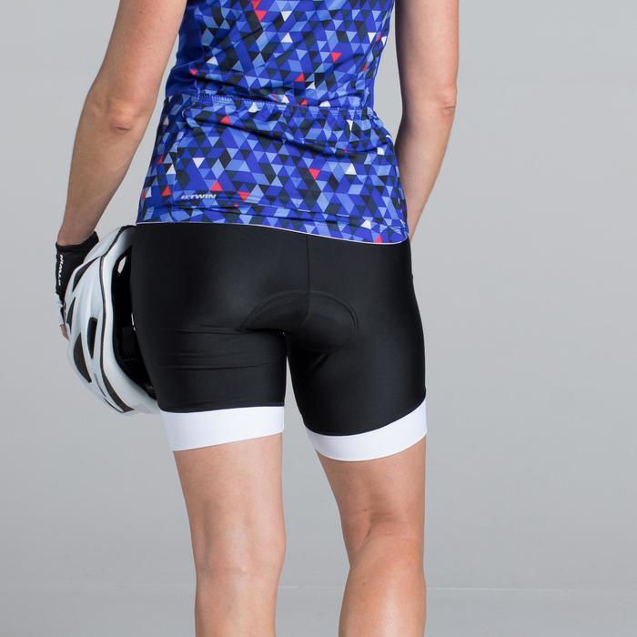 Kurze Radhose Rennrad 500 Damen schwarz/weiß