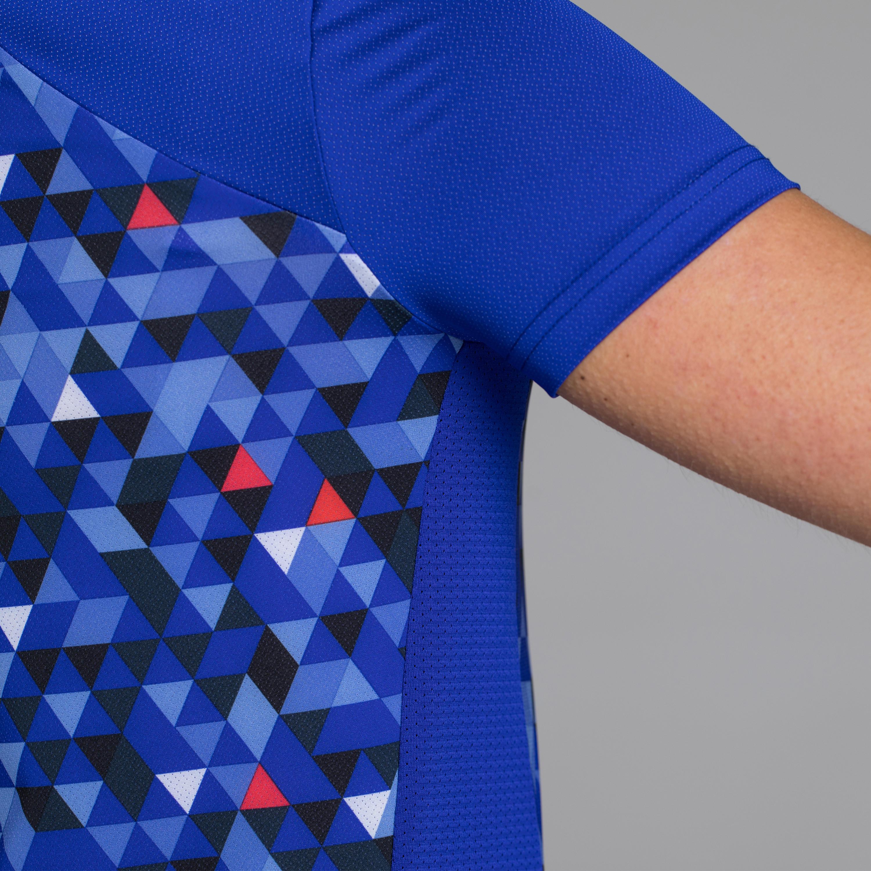 500 Women's Short-Sleeved Cycling Jersey - Facet Blue