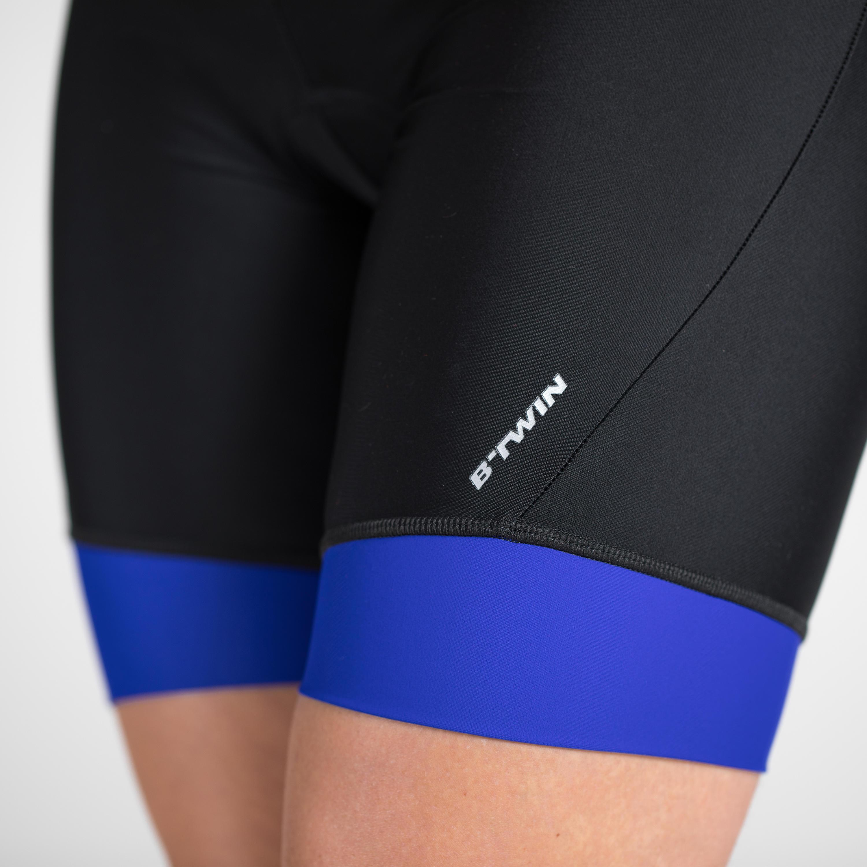 500 Women's Cycling Bibless Shorts - Black/Blue