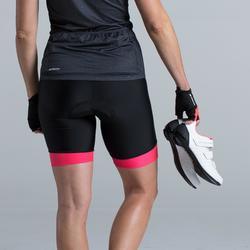 Kurze Radhose Rennrad RC 500 Damen schwarz/pink