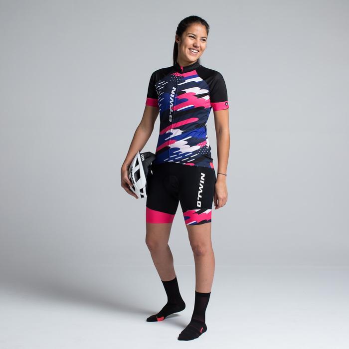 Kurzarm-Radtrikot Rennrad 900 Damen schwarz/blau/pink