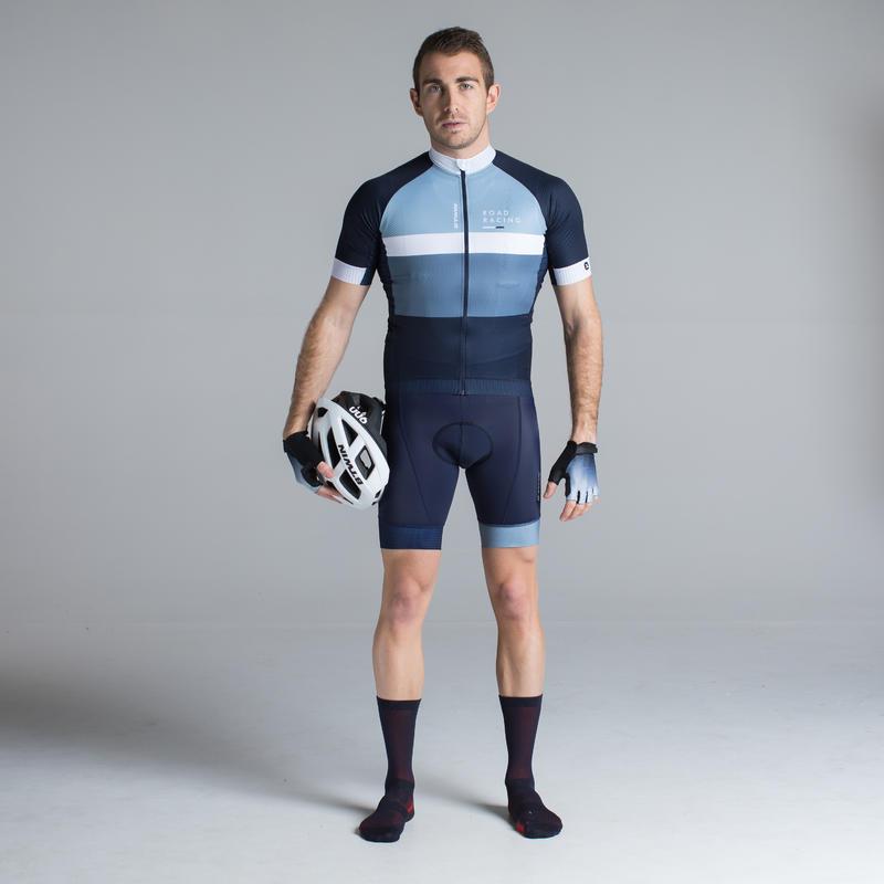 RoadRacing 500 Short-Sleeved Cycling Jersey - Grey/Blue