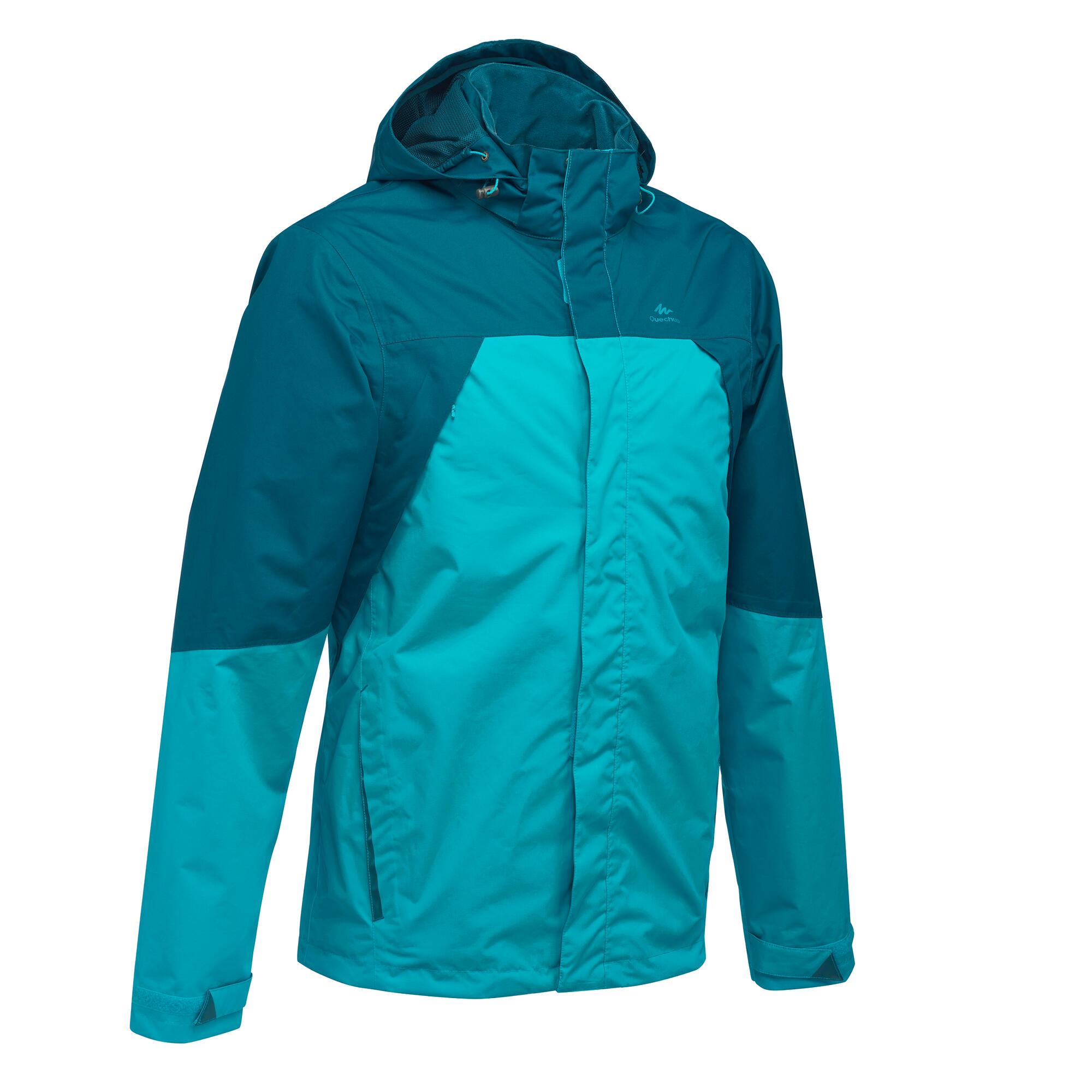 Mh100 Men S Waterproof Mountain Hiking Rain Jacket Blue
