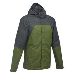 MH100 Men's Waterproof Mountain Hiking Rain Jacket - Green Black