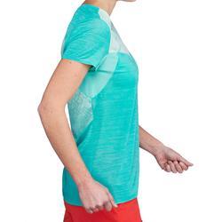 T-shirt manches courtes de randonnée rapide Femme FH500 Helium Turquoise