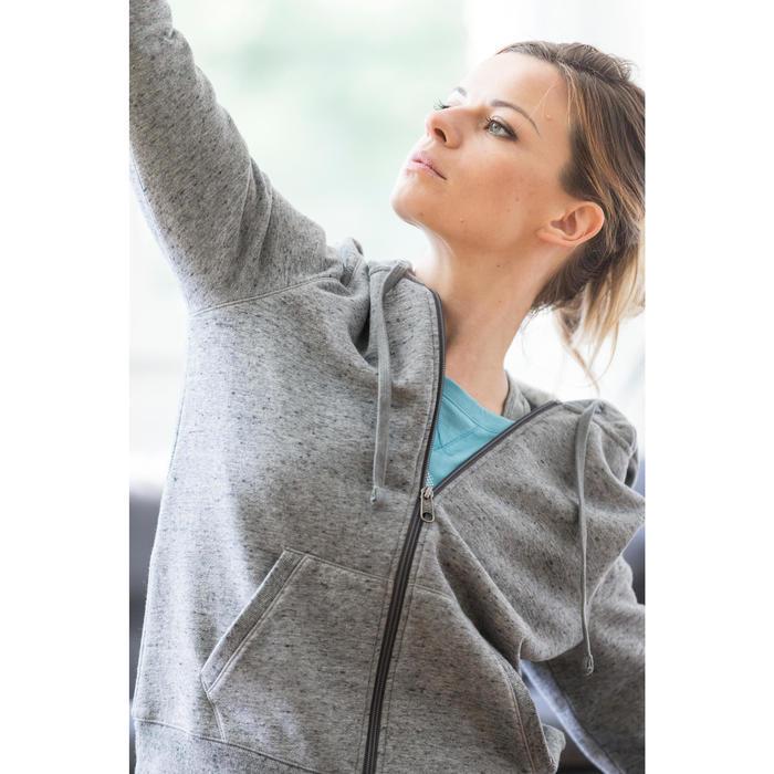 Dameshoodie met rits voor gym en stretching 520 gemêleerd - 1316250