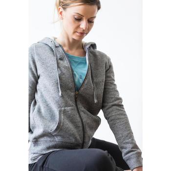 Dameshoodie met rits voor gym en stretching 520 gemêleerd - 1316284