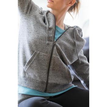 Dameshoodie met rits voor gym en stretching 520 gemêleerd - 1316295