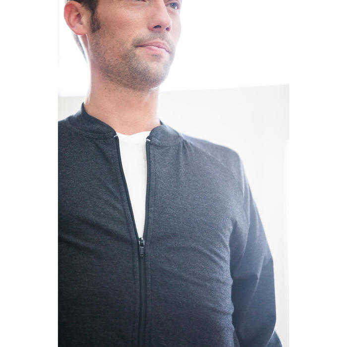 Trainingsjacke 100 Pilates sanfte Gymnastik Herren carbongrau