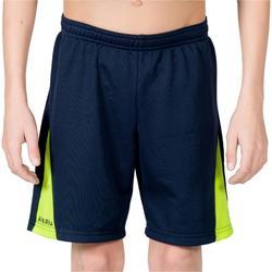 Short de handball enfant H100 bleu / jaune