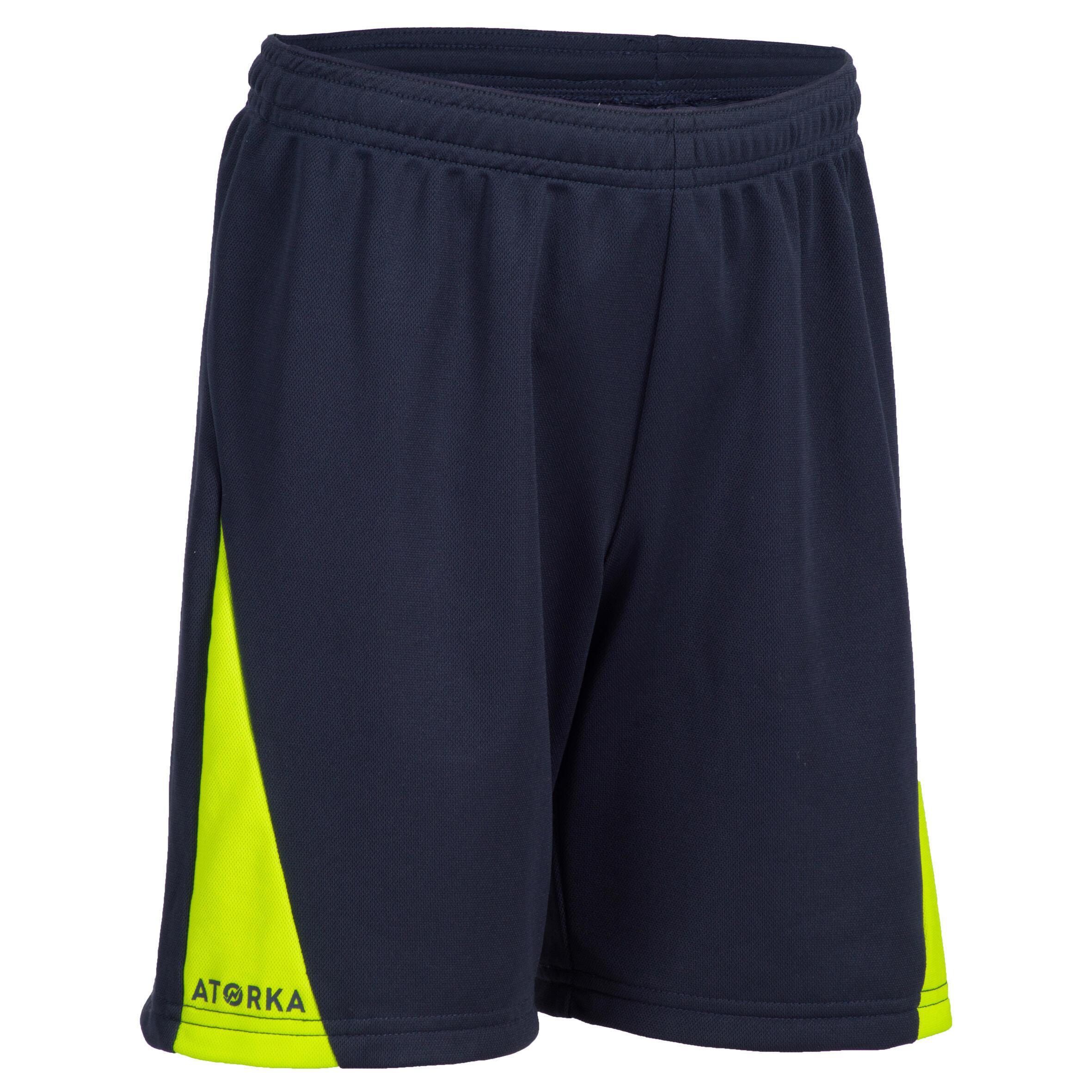Short de handball H100 garçon bleu marine et vert