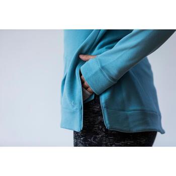 Sweat-shirt 900 Gym & Pilates Femme capuche bleu glacier - 1316587