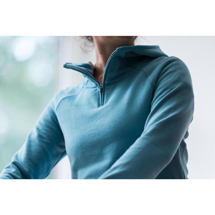 Sweat-shirt 900 Gym & Pilates Femme capuche bleu glacier - 1316593
