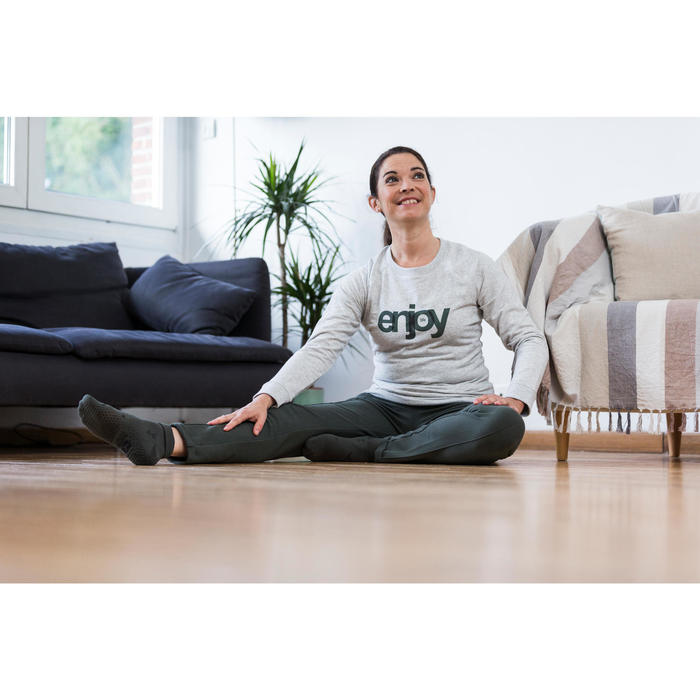 Damessweater 500 voor gym en stretching lichtroze