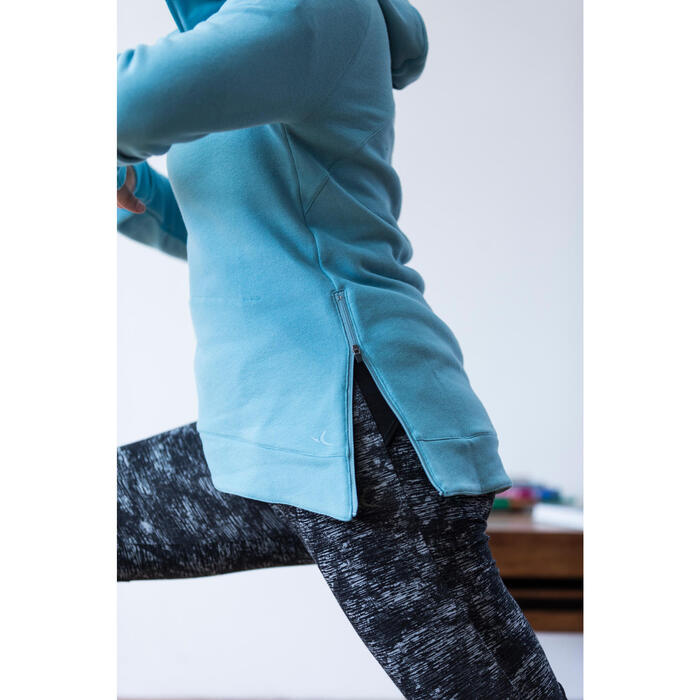 Sweat-shirt 900 Gym & Pilates Femme capuche bleu glacier - 1316609