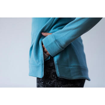 Sweat-shirt 900 Gym & Pilates Femme capuche bleu glacier - 1316610