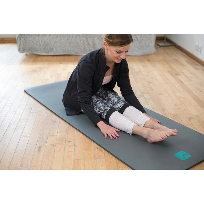 Leggings FIT+ 500 slim gimnasia y pilates mujer estampado negro líneas azules