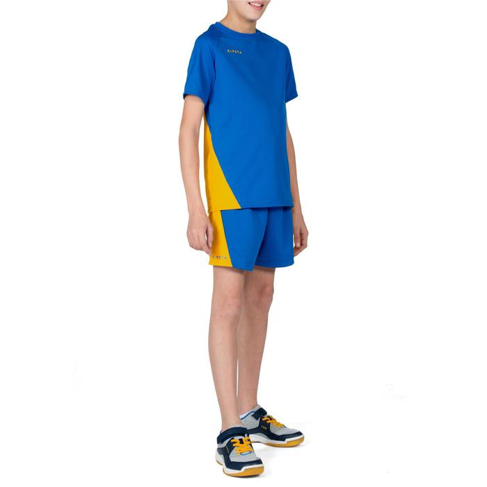 Camiseta de voleibol niño V100 azul y amarillo
