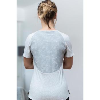 T-Shirt 520 manches courtes Gym & Pilates femme gris chiné clair - 1316783