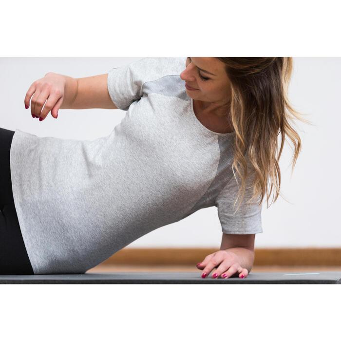 T-Shirt 520 manches courtes Gym & Pilates femme gris chiné clair - 1316814