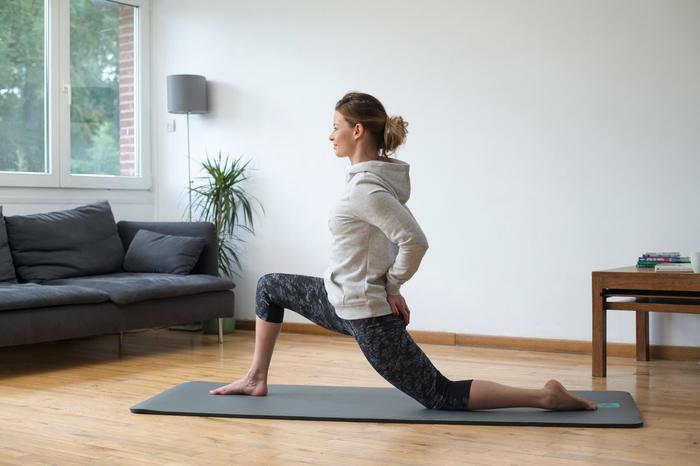 Sweat capuche Gym & Pilates femme chiné foncé - 1316857