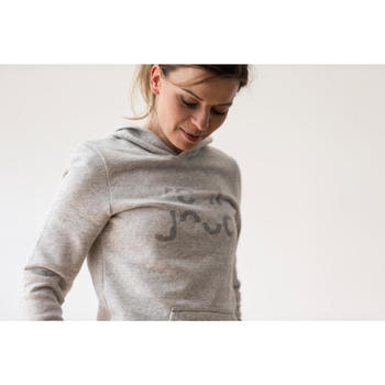Sweat capuche Gym & Pilates femme chiné foncé - 1316863