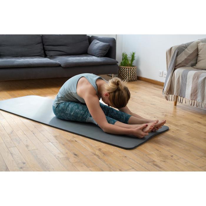 7/8-dameslegging 520 voor gym en pilates, grijs/zwart met opdruk