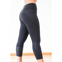 7/8-legging 900 voor dames, voor gym en pilates, slim fit, zwart