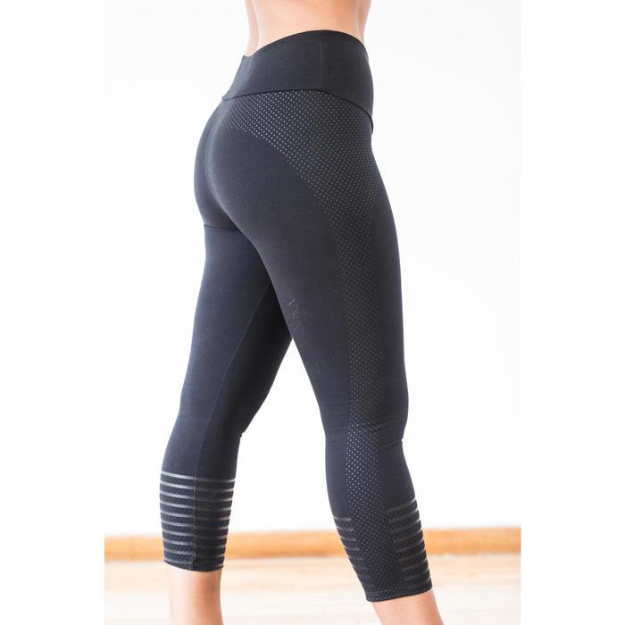 7/8-legging 900 voor dames, voor gym en pilates, slim fit, zwart