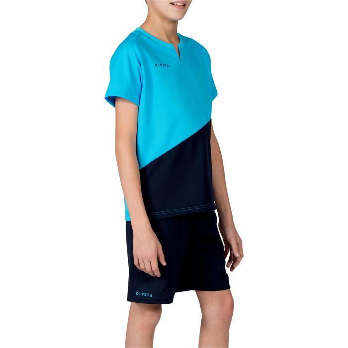 Jongensshirt voor teamsport FH100 marineblauw/lichtblauw