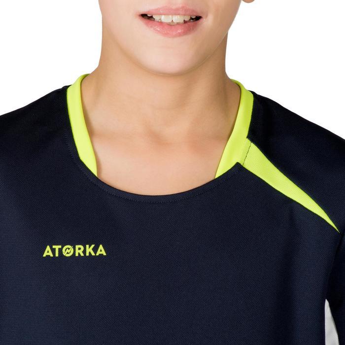 Maillot de handball H100 junior garçon bleu marine et jaune