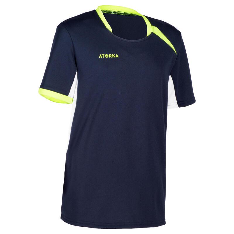 H100 Kids' Handball Jersey - Navy Blue/Yellow